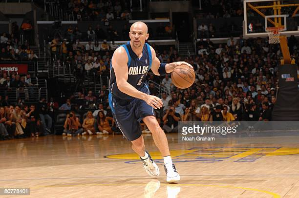 Jason Kidd of the Dallas Mavericks drives the ball up court during a game against the Los Angeles Lakers at Staples Center on April 4 2008 in Los...