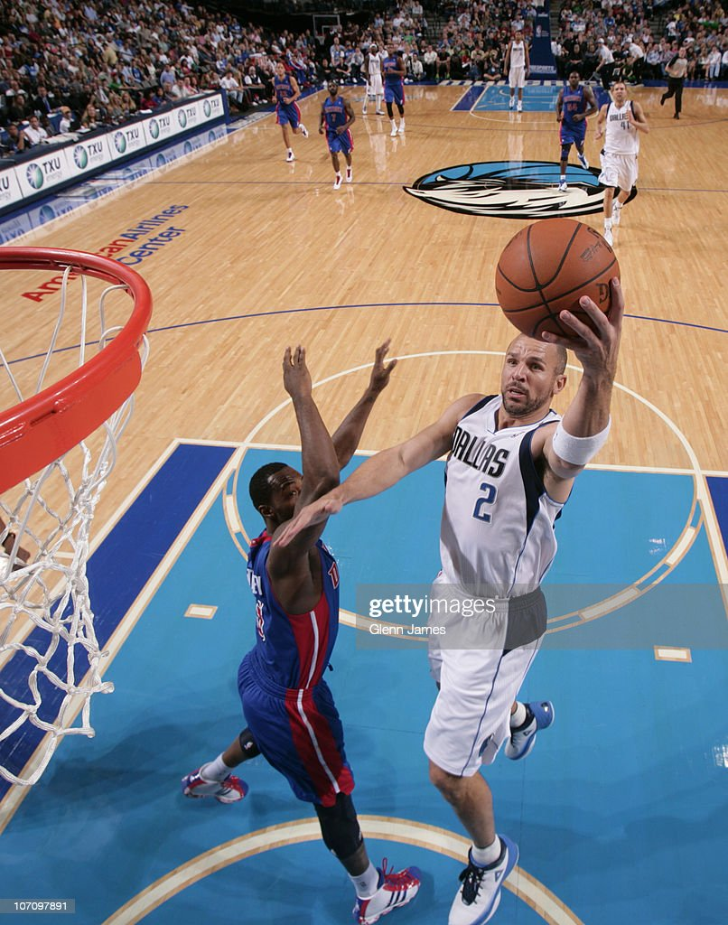 <a gi-track='captionPersonalityLinkClicked' href=/galleries/search?phrase=Jason+Kidd&family=editorial&specificpeople=201560 ng-click='$event.stopPropagation()'>Jason Kidd</a> #2 of the Dallas Mavericks glides in for the layup against <a gi-track='captionPersonalityLinkClicked' href=/galleries/search?phrase=Rodney+Stuckey&family=editorial&specificpeople=4375687 ng-click='$event.stopPropagation()'>Rodney Stuckey</a> #3 of the Detroit Pistons during a game on November 23, 2010 at the American Airlines Center in Dallas, Texas.