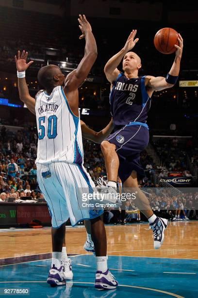 Jason Kidd of the Dallas Mavericks makes a shot over Emeka Okafor of the New Orleans Hornets at New Orleans Arena on November 4 2009 in New Orleans...