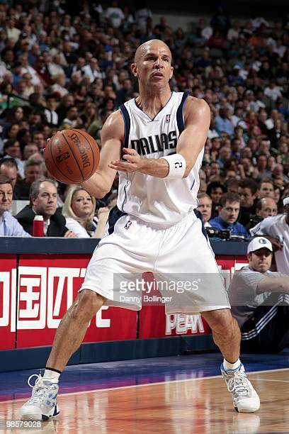 Jason Kidd of the Dallas Mavericks passes against the Denver Nuggets during the game at American Airlines Center on March 29 2010 in Dallas Texas The...