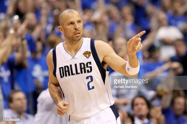 Jason Kidd of the Dallas Mavericks reacts after making a threepointer in the third quarter against the Miami Heat in Game Three of the 2011 NBA...
