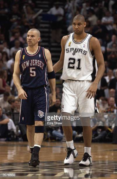 Jason Kidd of the New Jersey Nets and Tim Duncan of the San Antonio Spurs walks during Game two of the 2003 NBA Finals at SBC Center on June 6 2003...