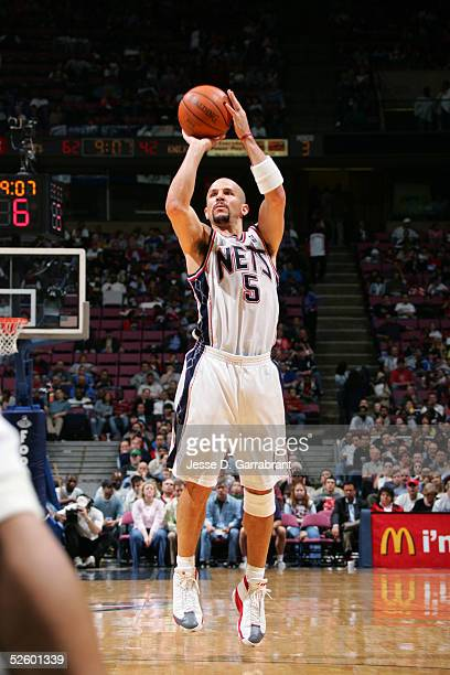 Jason Kidd of the New Jersey Nets attempts a shot against the New York Knicks on April 7 2005 at the Continental Airlines Arena in East Rutherford...