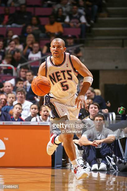 Jason Kidd of the New Jersey Nets drives against the Utah Jazz on November 8 2006 at Continental Airlines Arena in East Rutherford New Jersey NOTE TO...