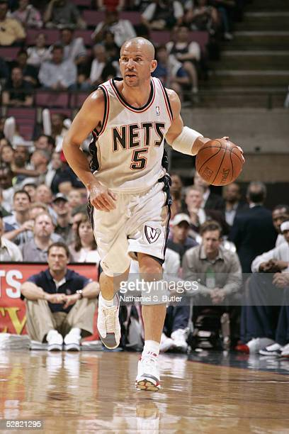Jason Kidd of the New Jersey Nets drives against the Washington Wizards during the game on April 17 2005 at the Continental Airlines Arena in East...