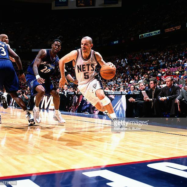 Jason Kidd of the New Jersey Nets drives to the basket during the NBA game against the Washington Wizards at the Continental Airlines Arena on...