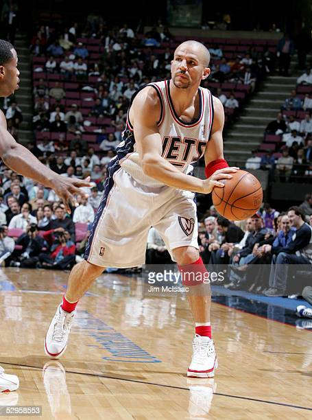 Jason Kidd of the New Jersey Nets looks to pass against the Miami Heat in Game three of the Eastern Conference Quarterfinals during the 2005 NBA...