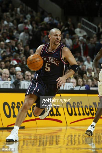 Jason Kidd of the New Jersey Nets moves the ball during the game against the Chicago Bulls at the United Center on December 28 2004 in Chicago...