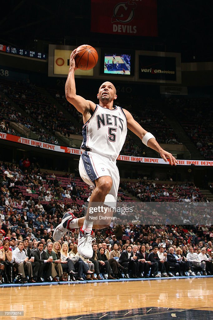 Jason Kidd of the New Jersey Nets shoots against the Toronto Raptors on January 9 2007 at the Continental Airlines Arena in East Rutherford New...