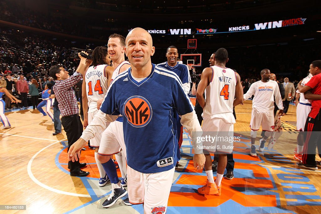 <a gi-track='captionPersonalityLinkClicked' href=/galleries/search?phrase=Jason+Kidd&family=editorial&specificpeople=201560 ng-click='$event.stopPropagation()'>Jason Kidd</a> #5 of the New York Knicks after defeating the Toronto Raptors on his 40th birthday ; on March 23, 2013 at Madison Square Garden in New York City.
