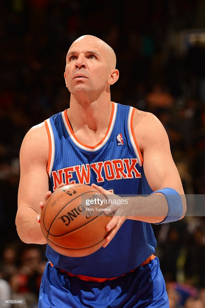 <a gi-track='captionPersonalityLinkClicked' href=/galleries/search?phrase=Jason+Kidd&family=editorial&specificpeople=201560 ng-click='$event.stopPropagation()'>Jason Kidd</a> #5 of the New York Knicks attempts a foul shot against the Toronto Raptors on March 22, 2013 at the Air Canada Centre in Toronto, Ontario, Canada.