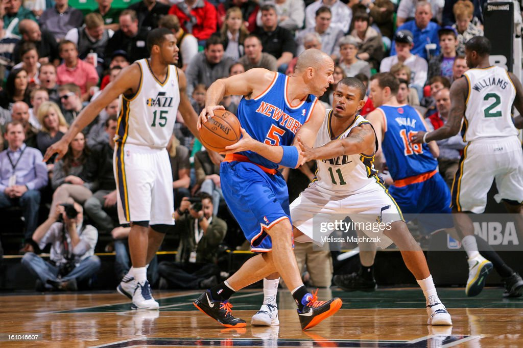 <a gi-track='captionPersonalityLinkClicked' href=/galleries/search?phrase=Jason+Kidd&family=editorial&specificpeople=201560 ng-click='$event.stopPropagation()'>Jason Kidd</a> #5 of the New York Knicks controls the ball against <a gi-track='captionPersonalityLinkClicked' href=/galleries/search?phrase=Earl+Watson&family=editorial&specificpeople=201841 ng-click='$event.stopPropagation()'>Earl Watson</a> #11 of the Utah Jazz at Energy Solutions Arena on March 18, 2013 in Salt Lake City, Utah.
