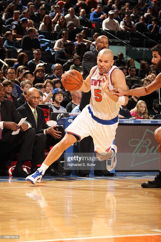 Jason Kidd #5 of the New York Knicks dribbles against the New Orleans Hornets on January 13, 2013 at Madison Square Garden in New York City.