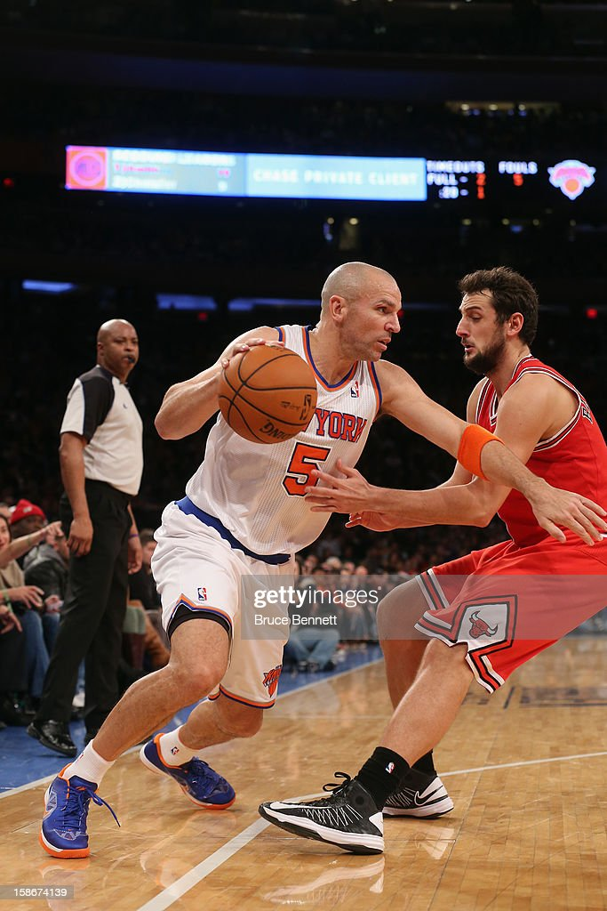 <a gi-track='captionPersonalityLinkClicked' href=/galleries/search?phrase=Jason+Kidd&family=editorial&specificpeople=201560 ng-click='$event.stopPropagation()'>Jason Kidd</a> #5 of the New York Knicks dribbles the ball against the Chicago Bulls at Madison Square Garden on December 21, 2012 in New York City.