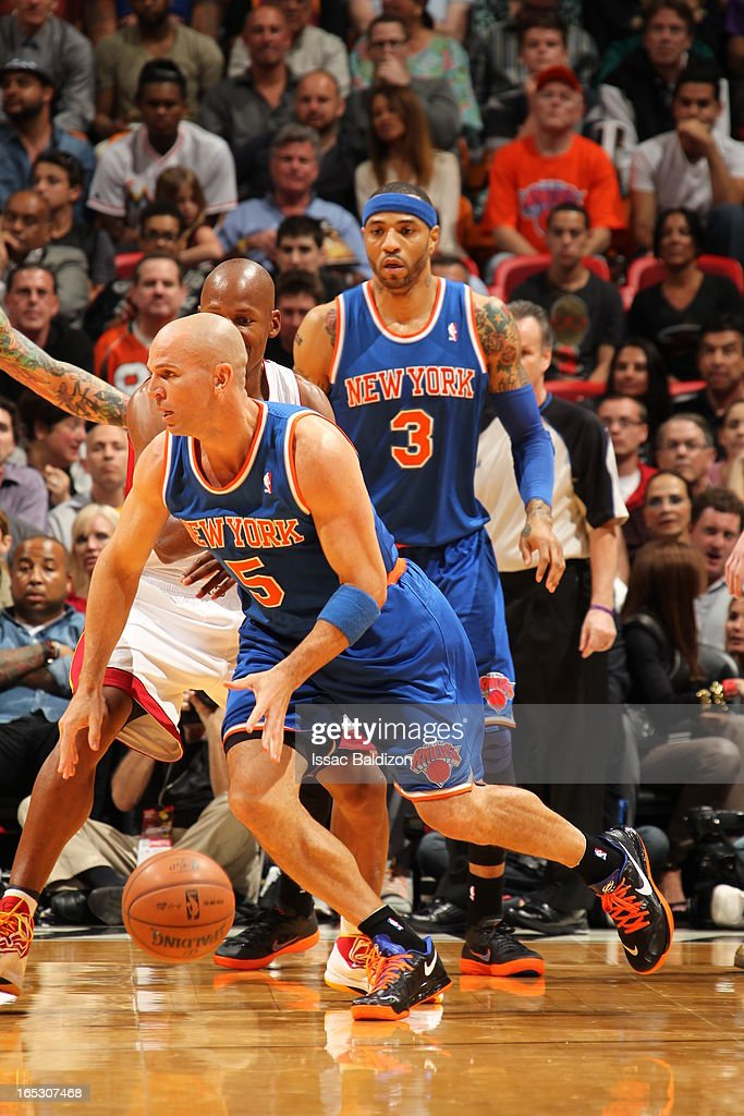 Jason Kidd #5 of the New York Knicks dribbles up the court against the Miami Heat during a game on April 2, 2013 at American Airlines Arena in Miami, Florida.