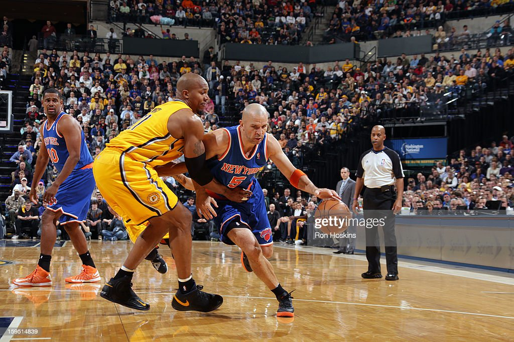 <a gi-track='captionPersonalityLinkClicked' href=/galleries/search?phrase=Jason+Kidd&family=editorial&specificpeople=201560 ng-click='$event.stopPropagation()'>Jason Kidd</a> #5 of the New York Knicks drives against David West #21 of the Indiana Pacers on January 10, 2013 at Bankers Life Fieldhouse in Indianapolis, Indiana.