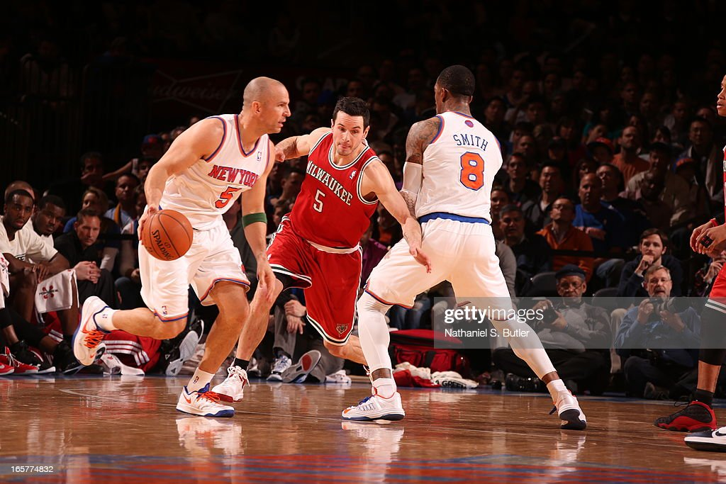 Jason Kidd #5 of the New York Knicks drives against J.J. Redick #5 of the Milwaukee Bucks on April 5, 2013 at Madison Square Garden in New York City.