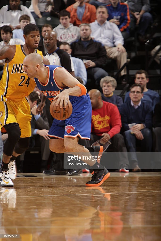 <a gi-track='captionPersonalityLinkClicked' href=/galleries/search?phrase=Jason+Kidd&family=editorial&specificpeople=201560 ng-click='$event.stopPropagation()'>Jason Kidd</a> #5 of the New York Knicks drives against Paul George #24 of the Indiana Pacers on January 10, 2013 at Bankers Life Fieldhouse in Indianapolis, Indiana.
