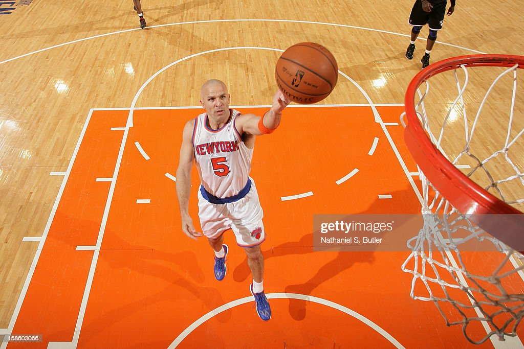 Jason Kidd #5 of the New York Knicks drives to the basket against the Brooklyn Nets on December 19, 2012 at Madison Square Garden in New York City.