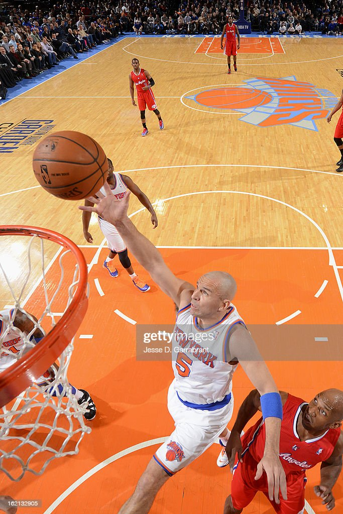 Jason Kidd #5 of the New York Knicks drives to the basket against the Los Angeles Clippers on February 10, 2013 at Madison Square Garden in New York City.
