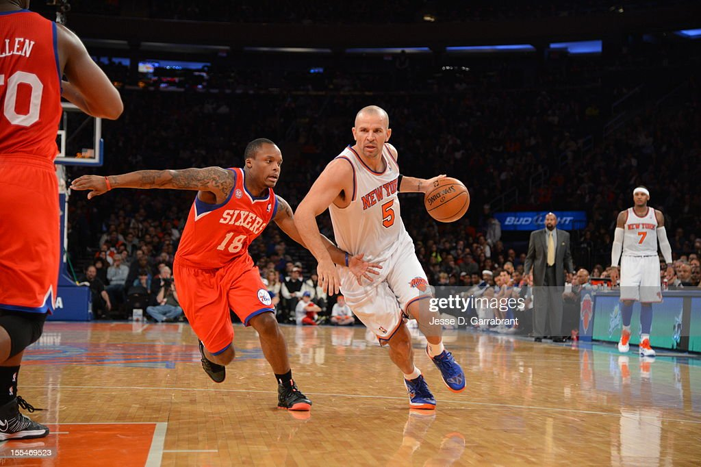 Jason Kidd #5 of the New York Knicks drives to the basket vs Maalik Wayns #18 of the Philadelphia 76ers on November 4, 2012 at Madison Square Garden in New York City.