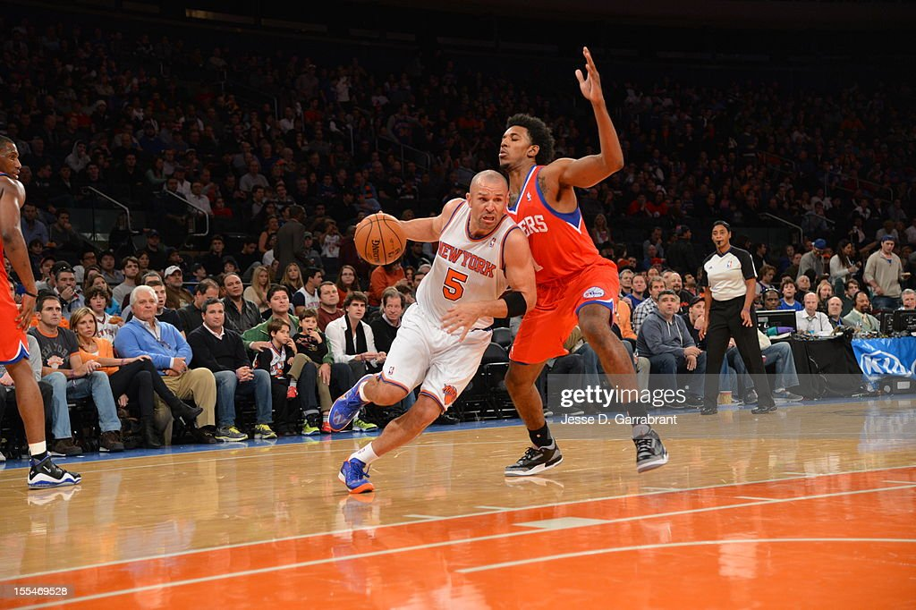 Jason Kidd #5 of the New York Knicks drives to the hoop vs the Philadelphia 76ers on November 4, 2012 at Madison Square Garden in New York City.