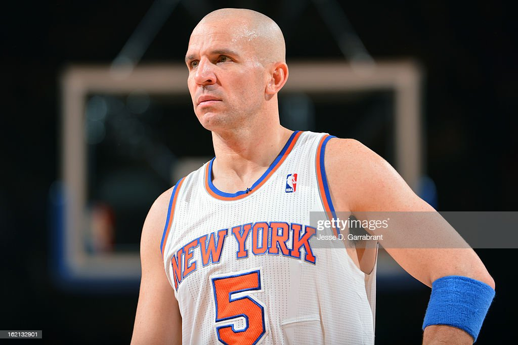 <a gi-track='captionPersonalityLinkClicked' href=/galleries/search?phrase=Jason+Kidd&family=editorial&specificpeople=201560 ng-click='$event.stopPropagation()'>Jason Kidd</a> #5 of the New York Knicks during the game against the Los Angeles Clippers on February 10, 2013 at Madison Square Garden in New York City.