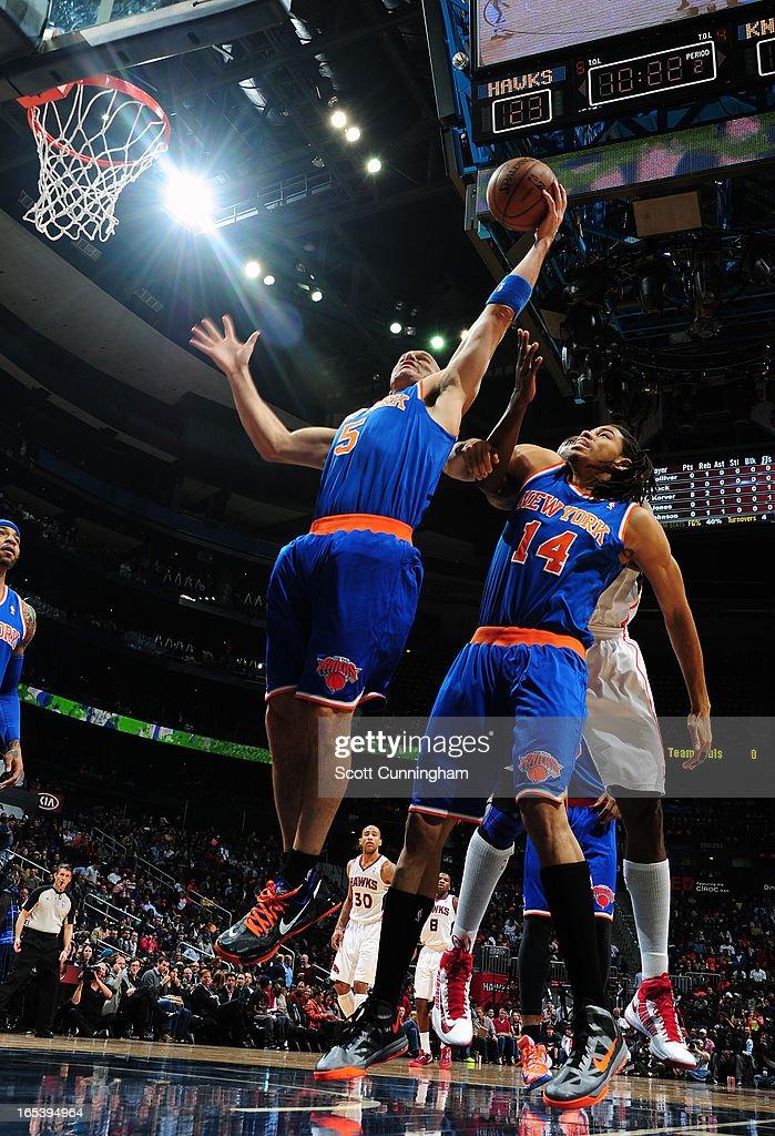 Jason Kidd #5 of the New York Knicks grabs the rebound against the Atlanta Hawks on April 3, 2013 at Philips Arena in Atlanta, Georgia.