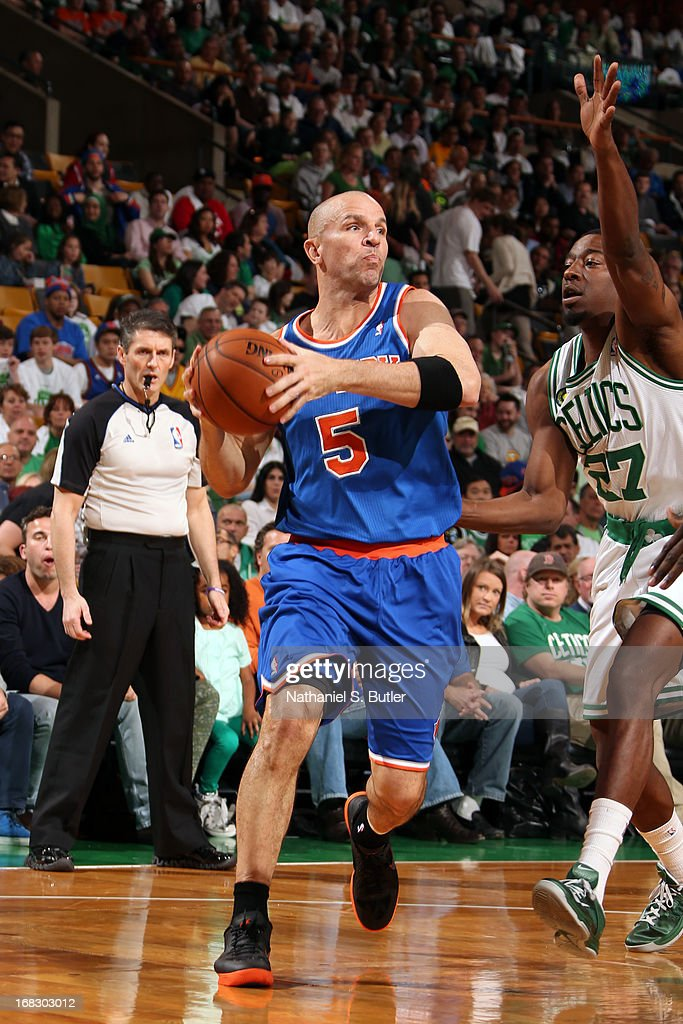 <a gi-track='captionPersonalityLinkClicked' href=/galleries/search?phrase=Jason+Kidd&family=editorial&specificpeople=201560 ng-click='$event.stopPropagation()'>Jason Kidd</a> #5 of the New York Knicks handles the ball against <a gi-track='captionPersonalityLinkClicked' href=/galleries/search?phrase=Jordan+Crawford&family=editorial&specificpeople=4779380 ng-click='$event.stopPropagation()'>Jordan Crawford</a> #27 of the Boston Celtics in Game Four of the Eastern Conference Quarterfinals during the 2013 NBA Playoffs on April 28, 2013 at the TD Garden in Boston.