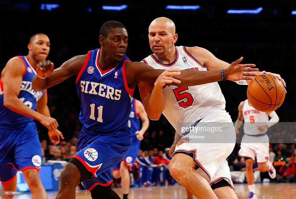 Jason Kidd #5 of the New York Knicks in action against Jrue Holiday #11 of the Philadelphia 76ers at Madison Square Garden on February 24, 2013 in New York City. The Knicks defeated the 76ers 99-93.