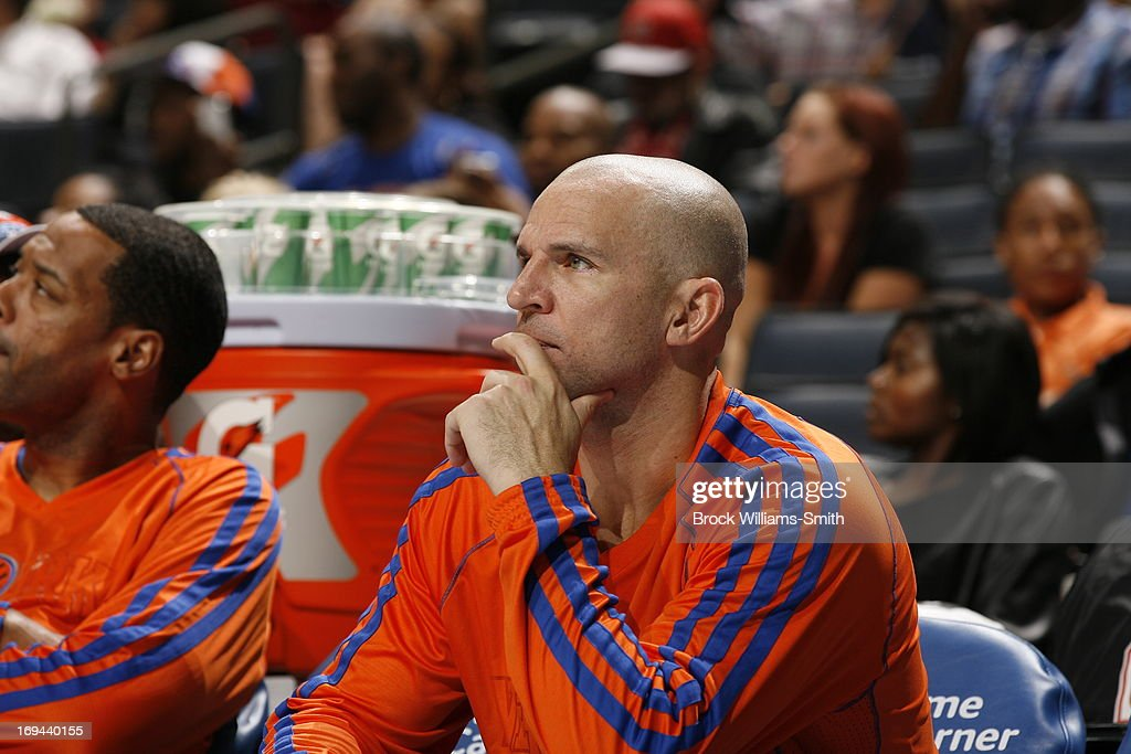 <a gi-track='captionPersonalityLinkClicked' href=/galleries/search?phrase=Jason+Kidd&family=editorial&specificpeople=201560 ng-click='$event.stopPropagation()'>Jason Kidd</a> #5 of the New York Knicks looks on from the bench against the Charlotte Bobcats at the Time Warner Cable Arena on April 15, 2013 in Charlotte, North Carolina.