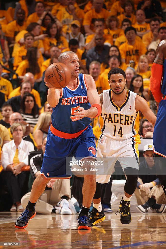 <a gi-track='captionPersonalityLinkClicked' href=/galleries/search?phrase=Jason+Kidd&family=editorial&specificpeople=201560 ng-click='$event.stopPropagation()'>Jason Kidd</a> #5 of the New York Knicks makes a pass against the Indiana Pacers in Game Six of the Eastern Conference Semifinals during the 2013 NBA Playoffs on May 18, 2013 at Bankers Life Fieldhouse in Indianapolis, Indiana.