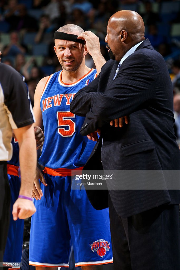 Jason Kidd #5 of the New York Knicks shares a laugh with head coach Mike Woodson while playing against the New Orleans Hornets on November 20, 2012 at the New Orleans Arena in New Orleans, Louisiana.