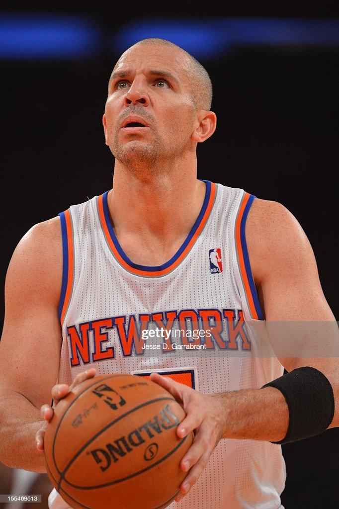Jason Kidd #7 of the New York Knicks shoots a foul shot vs the Philadelphia 76ers on November 4, 2012 at Madison Square Garden in New York City.