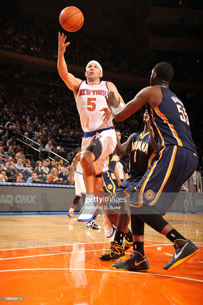 Jason Kidd #5 of the New York Knicks shoots against Roy Hibbert #55 of the Indiana Pacers on November 18, 2012 at Madison Square Garden in the Manhattan Borough of New York City.