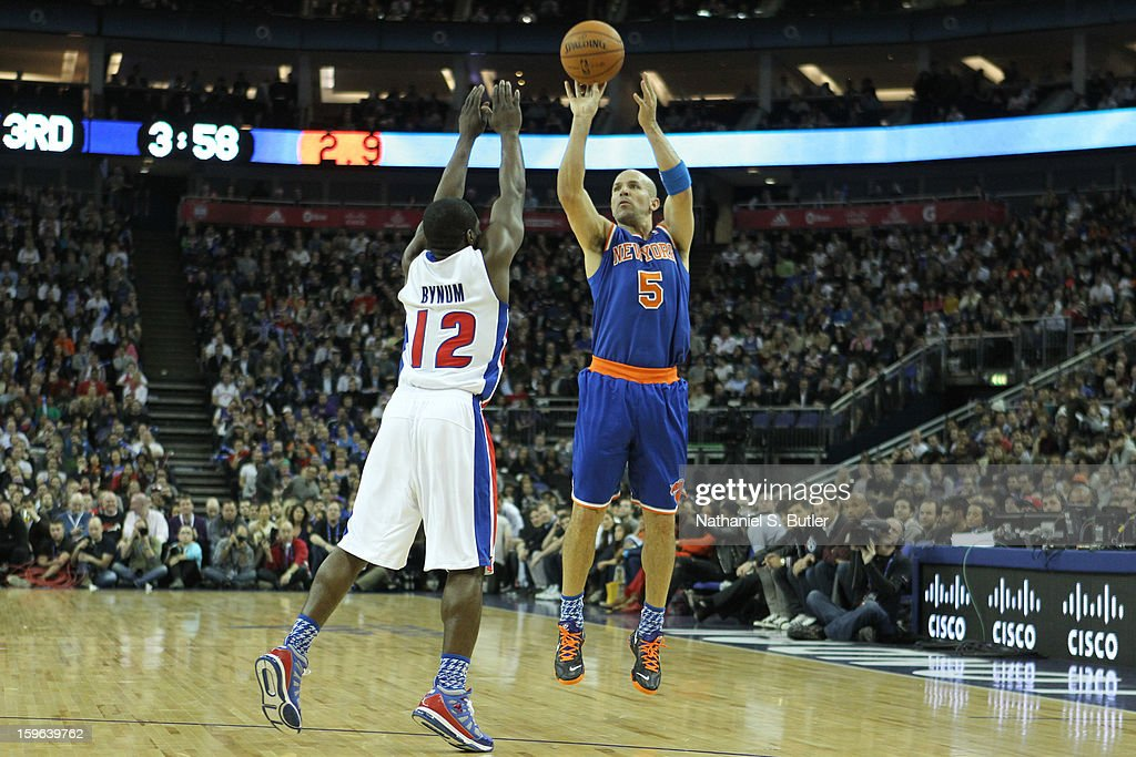 Jason Kidd #5 of the New York Knicks shoots against Will Bynum #12 of the Detroit Pistons during a game between the New York Knicks and the Detroit Pistons at the 02 Arena on January 17, 2013 in London, England.