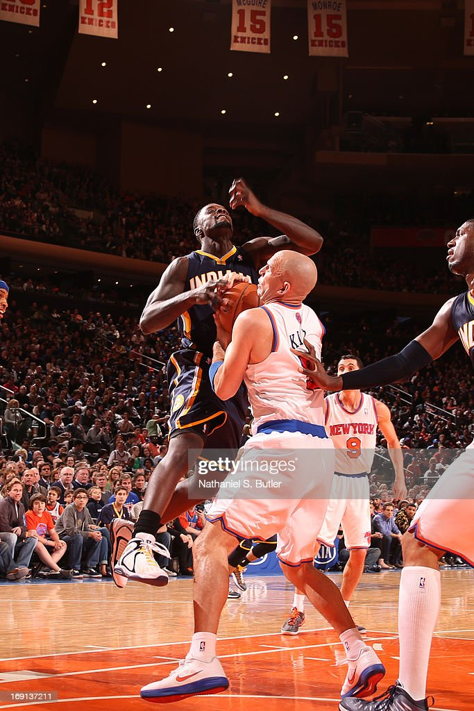 <a gi-track='captionPersonalityLinkClicked' href=/galleries/search?phrase=Jason+Kidd&family=editorial&specificpeople=201560 ng-click='$event.stopPropagation()'>Jason Kidd</a> #5 of the New York Knicks steals the ball against <a gi-track='captionPersonalityLinkClicked' href=/galleries/search?phrase=Lance+Stephenson&family=editorial&specificpeople=5298304 ng-click='$event.stopPropagation()'>Lance Stephenson</a> #1 of the Indiana Pacers on April 14, 2013 at Madison Square Garden in New York City.
