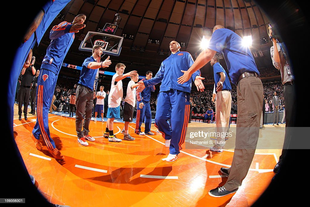 <a gi-track='captionPersonalityLinkClicked' href=/galleries/search?phrase=Jason+Kidd&family=editorial&specificpeople=201560 ng-click='$event.stopPropagation()'>Jason Kidd</a> #5 of the New York Knicks takes the court during starting line-up announcements against the Boston Celtics on January 7, 2013 at Madison Square Garden in New York City.