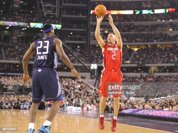 Jason Kidd of the Western Conference puts up a jumper against LeBron James of the Eastern Conference during the NBA AllStar Game as part of the 2010...