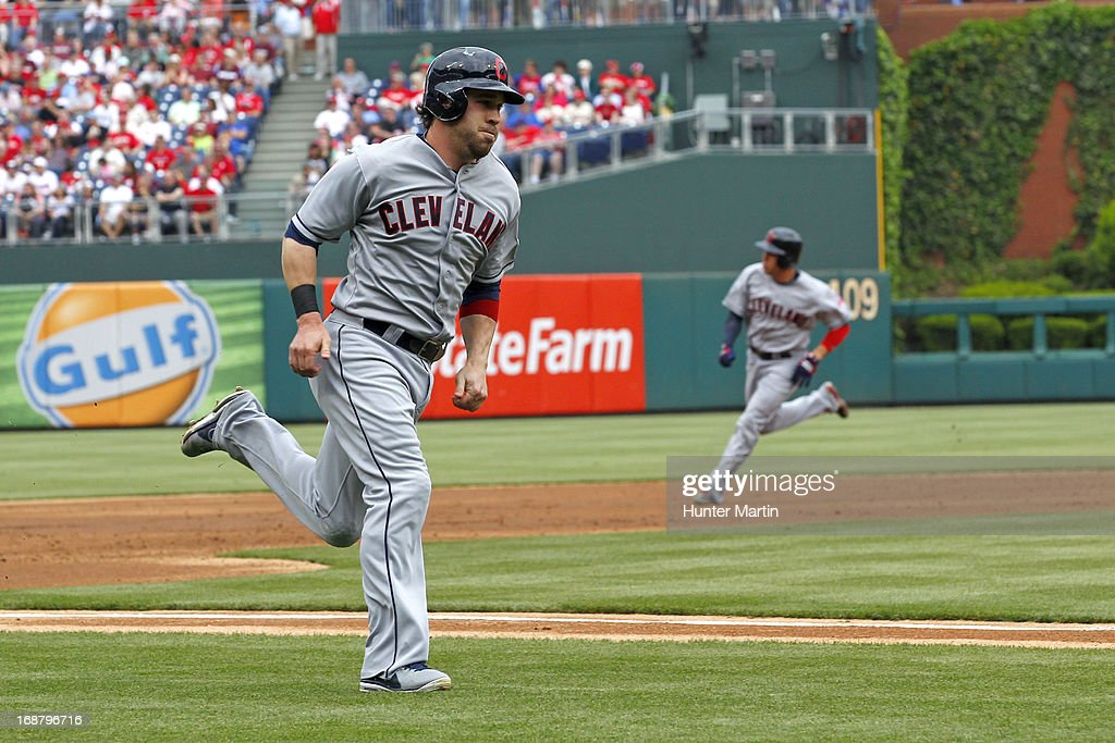 <a gi-track='captionPersonalityLinkClicked' href=/galleries/search?phrase=Jason+Kipnis&family=editorial&specificpeople=5330784 ng-click='$event.stopPropagation()'>Jason Kipnis</a> #22 and <a gi-track='captionPersonalityLinkClicked' href=/galleries/search?phrase=Asdrubal+Cabrera&family=editorial&specificpeople=834042 ng-click='$event.stopPropagation()'>Asdrubal Cabrera</a> #13 of the Cleveland Indians round the bases to score on a double in the third inning during a game against the Philadelphia Phillies at Citizens Bank Park on May 15, 2013 in Philadelphia, Pennsylvania.