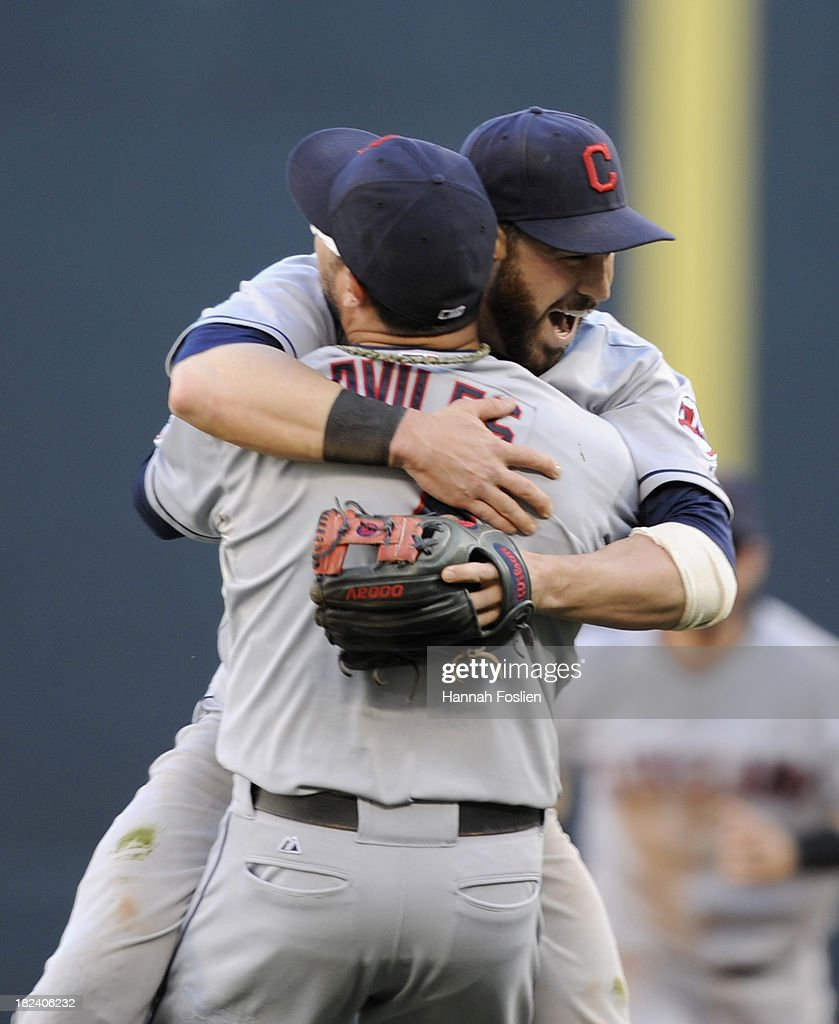 <a gi-track='captionPersonalityLinkClicked' href=/galleries/search?phrase=Jason+Kipnis&family=editorial&specificpeople=5330784 ng-click='$event.stopPropagation()'>Jason Kipnis</a> #22 and <a gi-track='captionPersonalityLinkClicked' href=/galleries/search?phrase=Mike+Aviles&family=editorial&specificpeople=4944765 ng-click='$event.stopPropagation()'>Mike Aviles</a> #4 of the Cleveland Indians celebrate a win of the game against the Minnesota Twins on September 29, 2013 at Target Field in Minneapolis, Minnesota. The Indians defeated the Twins 5-1 and clinched a American League Wild Card berth.