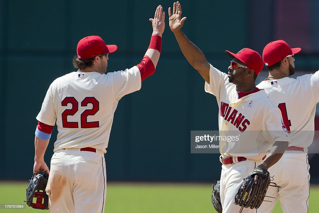 <a gi-track='captionPersonalityLinkClicked' href=/galleries/search?phrase=Jason+Kipnis&family=editorial&specificpeople=5330784 ng-click='$event.stopPropagation()'>Jason Kipnis</a> #22 celebrates with <a gi-track='captionPersonalityLinkClicked' href=/galleries/search?phrase=Michael+Bourn&family=editorial&specificpeople=835742 ng-click='$event.stopPropagation()'>Michael Bourn</a> #24 of the Cleveland Indians after the Indians defeated the Washington Nationals at Progressive Field on June 16, 2013 in Cleveland, Ohio. The Indians defeated the Nationals 2-0.