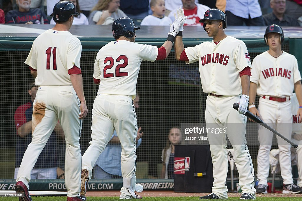 <a gi-track='captionPersonalityLinkClicked' href=/galleries/search?phrase=Jason+Kipnis&family=editorial&specificpeople=5330784 ng-click='$event.stopPropagation()'>Jason Kipnis</a> #22 celebrates with Michael Brantley #23 of the Cleveland Indians after Kipnis hit a two-run home run during the third inning against the Minnesota Twins at Progressive Field on August 24, 2013 in Cleveland, Ohio.