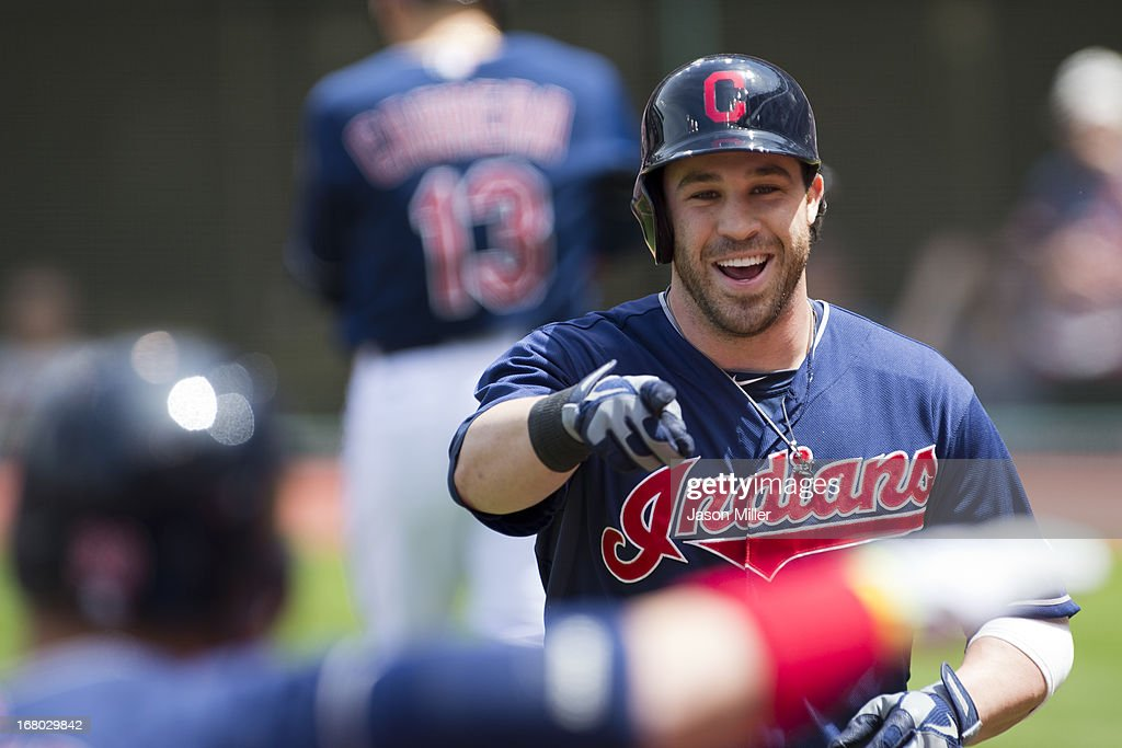 Jason Kipnis #22 of the Cleveland Indians celebrates after a solo home run during the first inning against the Minnesota Twins at Progressive Field on May 4, 2013 in Cleveland, Ohio.