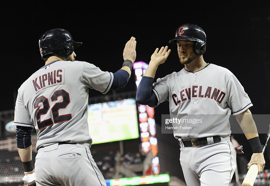 <a gi-track='captionPersonalityLinkClicked' href=/galleries/search?phrase=Jason+Kipnis&family=editorial&specificpeople=5330784 ng-click='$event.stopPropagation()'>Jason Kipnis</a> #22 of the Cleveland Indians congratulates teammate <a gi-track='captionPersonalityLinkClicked' href=/galleries/search?phrase=Ryan+Raburn&family=editorial&specificpeople=2541483 ng-click='$event.stopPropagation()'>Ryan Raburn</a> #9 on scoring a run against the Minnesota Twins during the sixth inning of the game on September 26, 2013 at Target Field in Minneapolis, Minnesota.