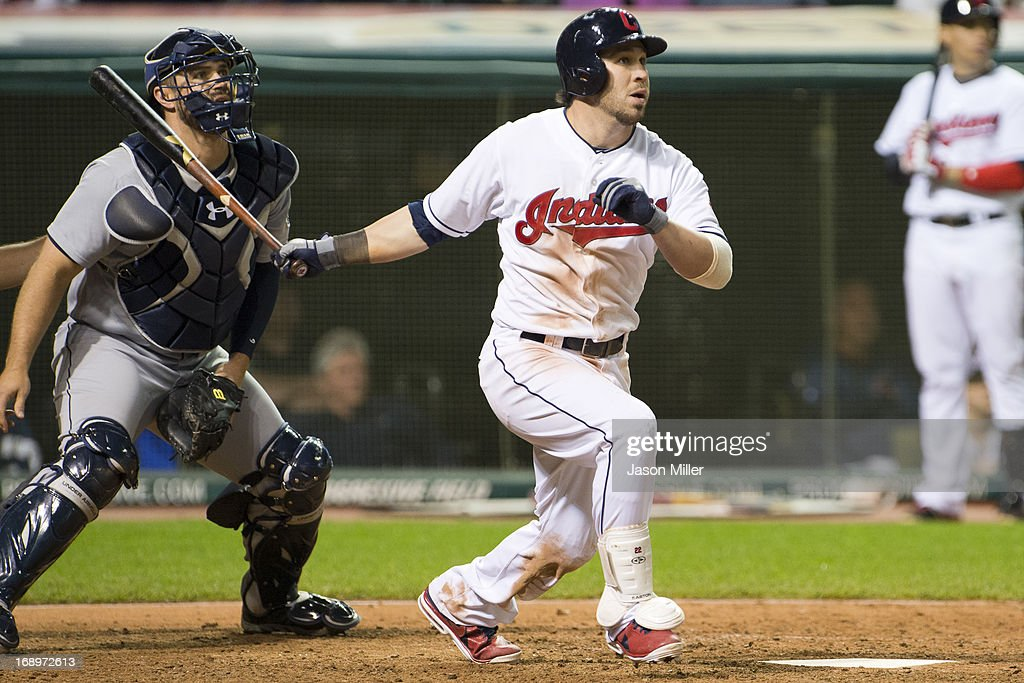 <a gi-track='captionPersonalityLinkClicked' href=/galleries/search?phrase=Jason+Kipnis&family=editorial&specificpeople=5330784 ng-click='$event.stopPropagation()'>Jason Kipnis</a> #22 of the Cleveland Indians hits a walk-off three-run home run in the tenth inning against the Seattle Mariners at Progressive Field on May 17, 2013 in Cleveland, Ohio. The Indians defeated the Mariners 6-3.