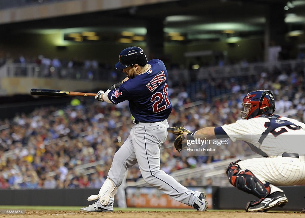 <a gi-track='captionPersonalityLinkClicked' href=/galleries/search?phrase=Jason+Kipnis&family=editorial&specificpeople=5330784 ng-click='$event.stopPropagation()'>Jason Kipnis</a> #22 of the Cleveland Indians hits an RBI double against the Minnesota Twins during the fourth inning of the game on August 20, 2014 at Target Field in Minneapolis, Minnesota. The Indians defeated the Twins 5-0.