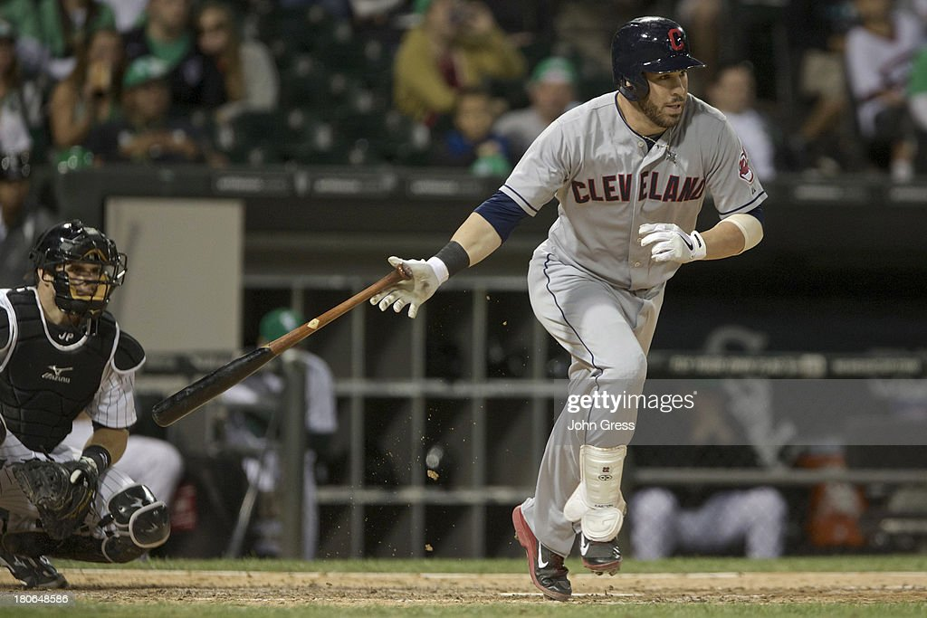 <a gi-track='captionPersonalityLinkClicked' href=/galleries/search?phrase=Jason+Kipnis&family=editorial&specificpeople=5330784 ng-click='$event.stopPropagation()'>Jason Kipnis</a> #22 of the Cleveland Indians hits while playing the Chicago White Sox during their MLB game at U.S. Cellular Field on September 14, 2013 in Chicago, Illinois.