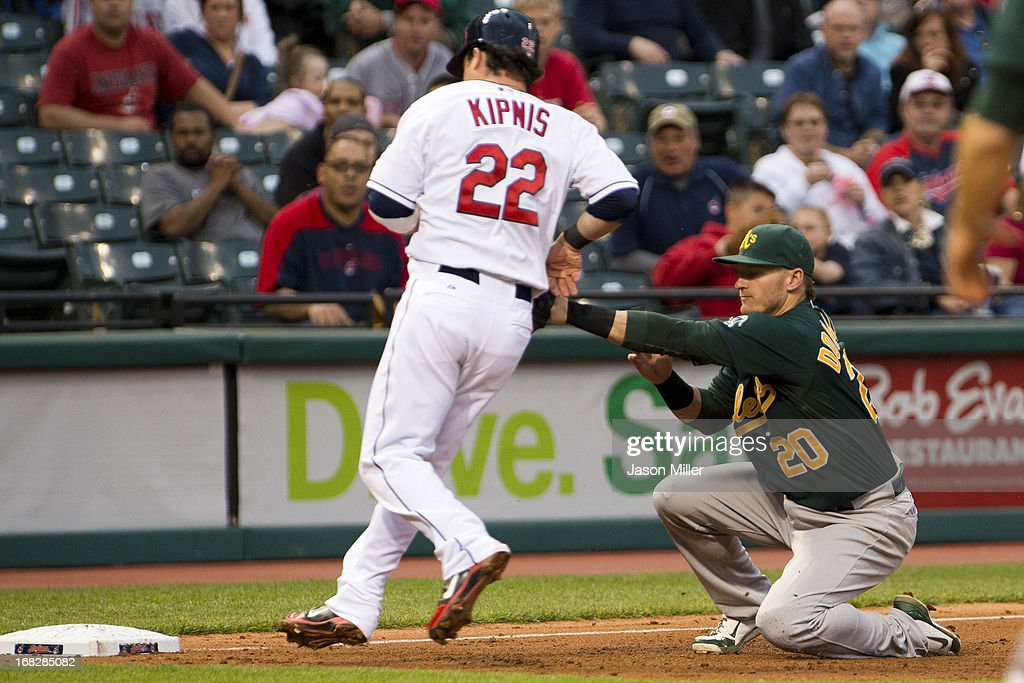 <a gi-track='captionPersonalityLinkClicked' href=/galleries/search?phrase=Jason+Kipnis&family=editorial&specificpeople=5330784 ng-click='$event.stopPropagation()'>Jason Kipnis</a> #22 of the Cleveland Indians is fought stealing third by third baseman <a gi-track='captionPersonalityLinkClicked' href=/galleries/search?phrase=Josh+Donaldson&family=editorial&specificpeople=4959442 ng-click='$event.stopPropagation()'>Josh Donaldson</a> #20 of the Oakland Athletics during the fourth inning at Progressive Field on May 7, 2013 in Cleveland, Ohio.