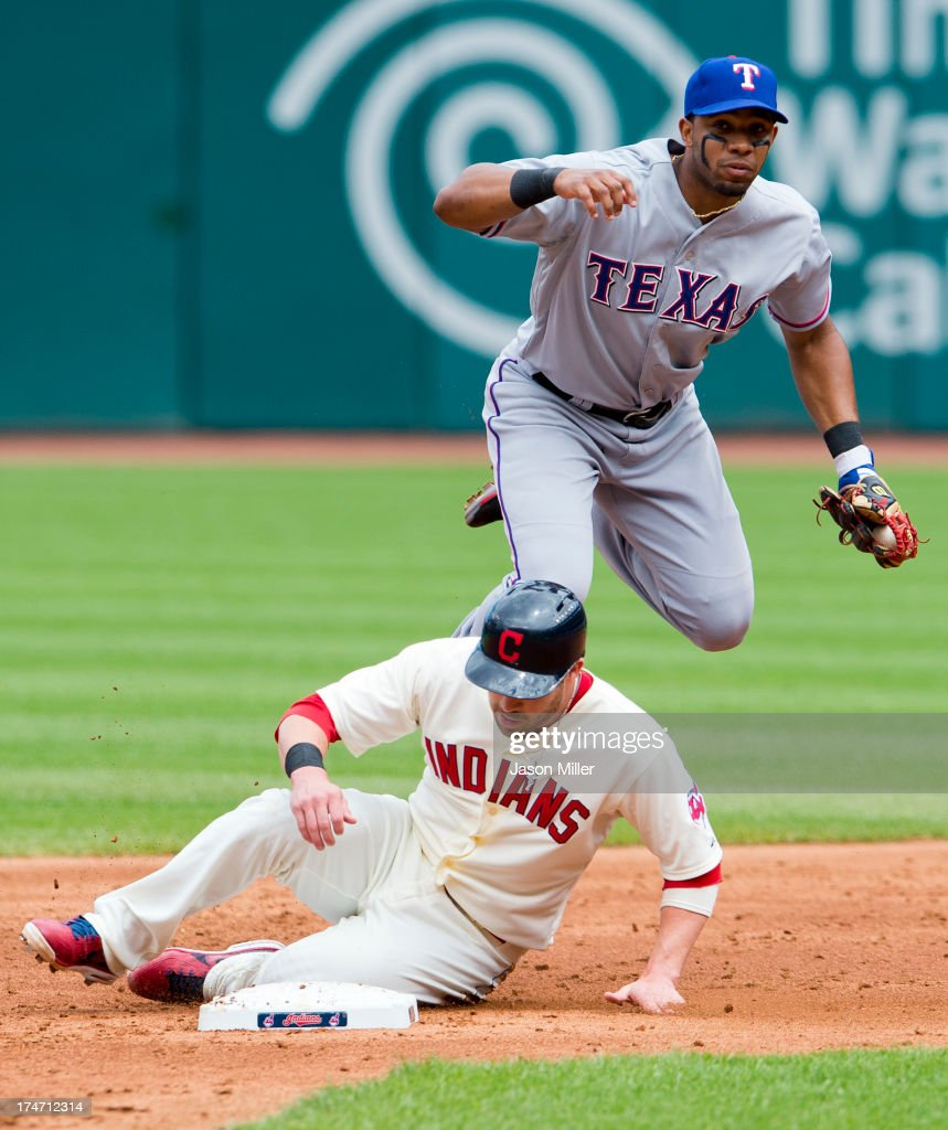 Jason Kipnis of the Cleveland Indians is out at second on a fielders choice as shortstop Elvis Andrus of the Texas Rangers jumps in the air during...